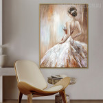 Girl Halter Dress Abstract Modern Heavy Texture Figure Handpainted Oil Painting for Room Wall Decoration