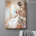 Girl Halter Dress Abstract Modern Heavy Texture Figure Handpainted Oil Painting for Room Wall Getup