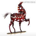 Weaving Horse Animal Figurine Metal Indoor Statue Decoration