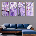 Floret Boughs Botanical Palette Knife Handmade 4 Piece Split Complementary Painting Wall Art Set for Room Wall Adornment