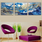 Blemishes Abstract Modern Handmade 3 Piece Multi Panel Wall Art Painting for Room Wall Trimming
