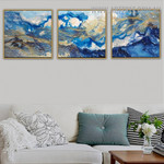 Blemishes Abstract Modern Handmade 3 Piece Multi Panel Wall Painting Set for Room Wall Embellishment