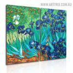 Iris Flower Garden Botanical Handmade 2 Piece Split Wall Painting Art Set