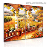 Balcony Nature Landscape Handmade 2 Piece Split Canvas Painting Wall Art Set