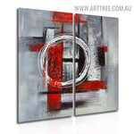 Roundabout Abstract Vintage Handmade 2 Piece Multi Panel Canvas Oil Painting Wall Art Set