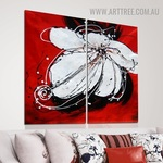 White Petal Flower Floral Handmade 2 Piece Multi Panel Oil Painting Wall Art Set for Room Onlay