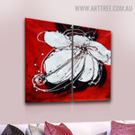 White Petal Flower Floral Handmade 2 Piece Multi Panel Canvas Painting Wall Art Set for Room Decor