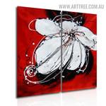 White Petal Flower Botanical Handmade 2 Piece Multi Panel Wall Art Paintings Set