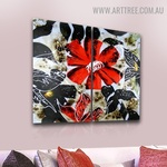 Colorful Flower Design Abstract Handmade 2 Piece Split Complementary Painting Wall Art Set for Room Assortment