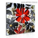 Colorful Flower Design Abstract Handmade 2 Piece Split Panel Painting Wall Art Set