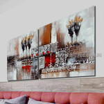 Streak and Spots Abstract Vintage Handmade 2 Piece Multi Panel Canvas Painting Wall Art Set For Room Wall Décor