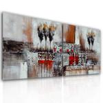 Streak and Spots Abstract Vintage Handmade 2 Piece Multi Panel Oil Paintings Wall Art Set