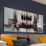 Strokes and Blobs Abstract Vintage Handmade 2 Piece Split Complementary Painting Wall Art Set for Room Décor