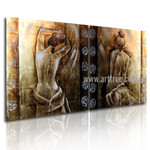 Naked Lady Backside Figure Abstract Vintage Handmade 2 Piece Multi Panel Canvas Painting Wall Art Set
