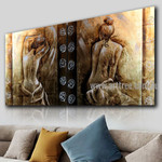 Naked Lady Backside Figure Vintage Handmade 2 Piece Multi Panel Oil Painting Wall Art Set for Room Outfit