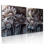 Monochrome Blossoms Floral Vintage Handmade 2 Piece Split Panel Painting Wall Art Set