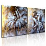Ballerina Dancers Figure Handmade 2 Piece Multi Panel Canvas Painting Wall Art Set