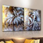 Ballerina Dancers Figure Handmade 2 Piece Multi Panel Oil Paintings Wall Art Set For Room Onlay