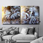 Ballerina Dancers Figure Handmade 2 Piece Split Canvas Painting Wall Art Set For Room Assortment