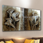 Calla Lily Botanical Artist Handmade 2 Piece Split Canvas Painting Wall Art Set for Room Decor