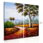 Pathway Nature Texture Handmade 2 Piece Multi Panel Canvas Oil Painting Wall Art Set