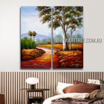 Pathway Nature Texture Handmade 2 Piece  Multi Panel Oil Painting Wall Art Set For Room Décor