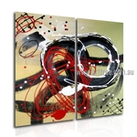 Sinuous Abstract Heavy Texture Handmade 2 Piece Multi Panel Wall Art Paintings Set
