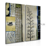 Leaves Branch Abstract Vintage Handmade 2 Piece Multi Panel Oil Paintings Wall Art Set