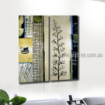 Leaves Branch Abstract Vintage Handmade 2 Piece Multi Panel Canvas Painting Wall Art Set For Room Wall Décor