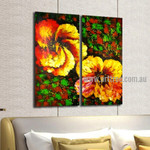 Big Blooms Abstract Floral Handmade 2 Piece Split Complementary Painting Wall Art Set for Room Décor