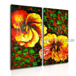 Big Blooms Abstract Floral Handmade 2 Piece Split Panel Painting Wall Art Set