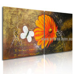White Butterfly Floral Animal Handmade 2 Piece Multi Panel Canvas Painting Wall Art Set