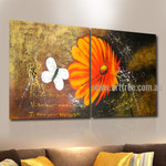 White Butterfly Floral Animal Handmade 2 Piece Multi Panel Oil Painting Wall Art Set for Room Outfit