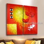 Triangular Square Abstract Artist Handmade 2 Piece Split Panel Painting Wall Art Set For Room Getup