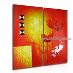 Triangular Square Abstract Artist Handmade 2 Piece Multi Panel Wall Painting Wall Art Set