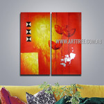 Triangular Square Abstract Artist Handmade 2 Piece Multi Panel Canvas Painting Wall Art Set For Room Decor