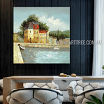 White Prows Cityscape Artist Handmade Acrylic Scenery Painting For Room Wall Garnish