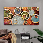 Circular Design Geometric Modern Artist Handmade Heavy Texture Stretched Acrylic Abstract Art Painting For Room Wall Drape