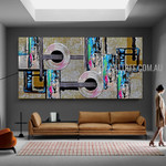 Orbed Abstract Geometric Artist Handmade Impasto Stretched Modern Artwork For Room Wall Outfit