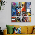Sinuous Abstract Artist Handmade Heavy Texture Framed Modern Painting For Room Wall Getup