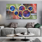 Rotund Abstract Artist Handmade Impasto Framed Contemporary Modern Artwork For Room Wall Decoration