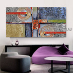 Globose and Strokes Geometric Modern Heavy Texture Artist Handmade Stretched Abstract Art Painting For Room Wall Getup