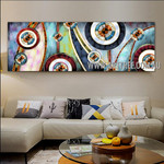 Dapple Spherical Contemporary Panoramic Artist Handmade Heavy Texture Framed Abstract Canvas Art For Room Wall Ornament