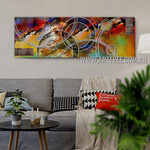 Circumlocutory Streaks Panoramic Contemporary Artist Handmade Impasto Stretched Modern Abstract Art For Room Wall Onlay