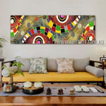 Convoluted Contemporary Panoramic Artist Handmade Impasto Stretched Abstract Art For Room Wall Décor