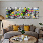 Meandering Lineaments Panoramic Modern Artist Handmade Impasto Framed Abstract Wall Art For Room Equipment
