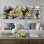 Meandering Lineaments Panoramic Modern Artist Handmade Impasto Stretched Abstract Art For Room Wall Flourish