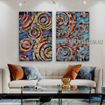 Sinuate Tarnishes Abstract Modern Artist Handmade 2 Piece Multi Panel Canvas Oil Painting Wall Art Set For Room Décor