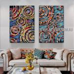 Sinuate Tarnishes Abstract Modern Artist Handmade 2 Piece Multi Panel Wall Art Painting Set For Room Garnish