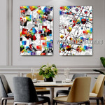 Geometric Stains Abstract Modern Artist Handmade 2 Piece Multi Panel Oil Painting Set For Room Trimming